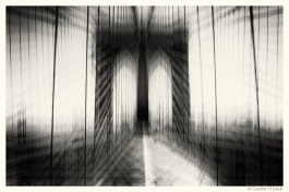 New York in Bewegung, in motion, monochrom. Brooklyn Bridge