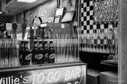 Drinks. Bourbon Street, New Orleans, Louisiana, USA in s/w, b/w