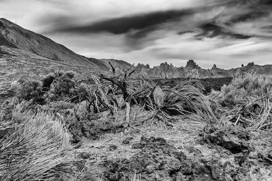 Teide Nationalpark in schwarzweiss, Teneriffa, Spanien