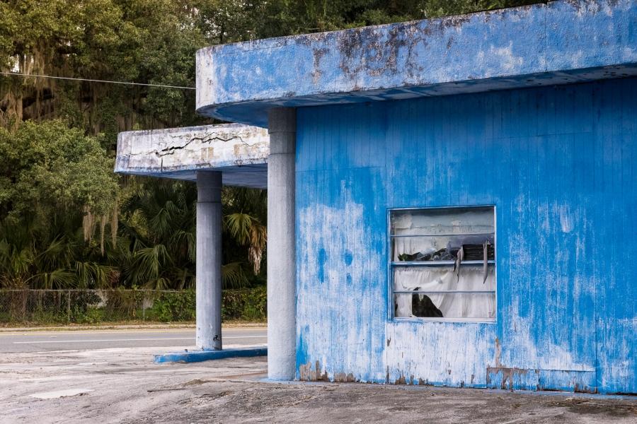 Alte Tankstelle, blau, Südstaaten